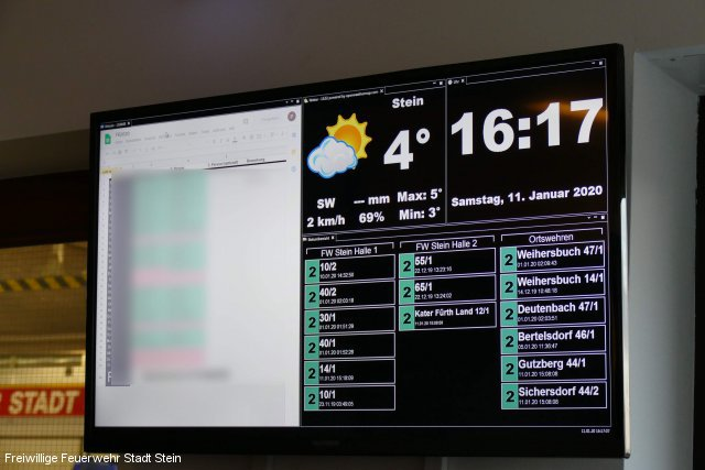Info-Monitore in der Einsatzzentrale der Feuerwehr Stein